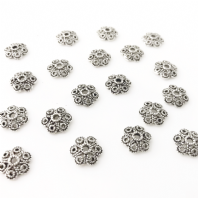 40 Antique Silver 12mm Bead Caps